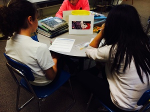Students did small group breakout activities focusing on the 12 panels of the piece
